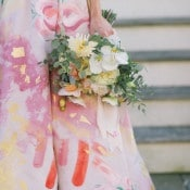 Floral Print Wedding Dress with Gold Foil | Kat Harris Photography | Playful Pink and Gold Preppy Bridal Shoot