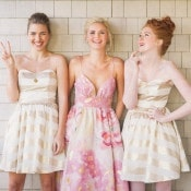 Colorful Floral Pint Wedding Dress | Kat Harris Photography | Playful Pink and Gold Preppy Bridal Shoot