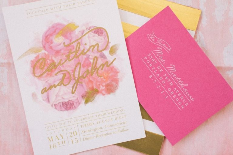 Peony and Gold Script Wedding Invitation