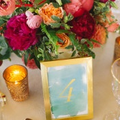 Colorful Watercolor Table Decor | Kat Harris Photography | Playful Pink and Gold Preppy Bridal Shoot