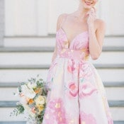 Floral Print Wedding Dress | Kat Harris Photography | Playful Pink and Gold Preppy Bridal Shoot