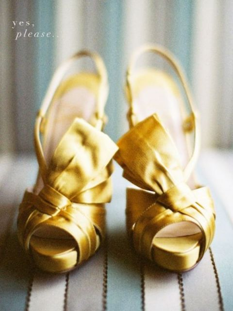 Gold Satin Louboutins | Bold and Bright Wedding in Blue and Gold