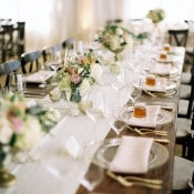 Blush and Gold Farm Table | Danielle Poff Photography | Effortlessly Chic Sparkling Neutral Wedding