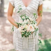 Sequin Bridesmaid Dress with a Blush Bouquet | Danielle Poff Photography | Effortlessly Chic Sparkling Neutral Wedding