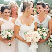 Glittering Mismatched Bridesmaid Dresses | Danielle Poff Photography | Effortlessly Chic Sparkling Neutral Wedding