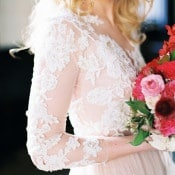 Blush Lace Wedding Dress with a Red Bouquet | Maria Lamb Photography | Vintage Romance Wedding