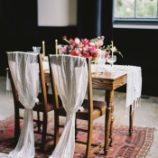 Silk Draped Chairs for the Bride and Groom | Maria Lamb Photography | Vintage Romance Wedding