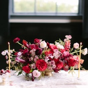 Pink and Blush Centerpiece in a Vintage Gold Vessel   Maria Lamb Photography   Vintage Romance Wedding