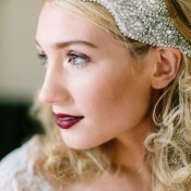 Dark Berry Lipstick and a Beaded Bridal Headpiece | Maria Lamb Photography | Vintage Romance Wedding