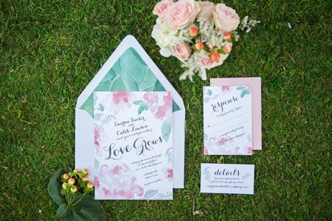 Floral Print Invitation | Shelly Taylor Photography | Southern Peach Wedding
