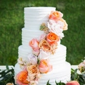 Buttercream Cake with Roses | Shelly Taylor Photography | Southern Peach Wedding