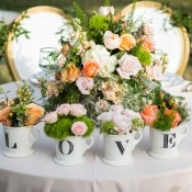 LOVE Mugs filled with Flowers | Shelly Taylor Photography | Southern Peach Wedding