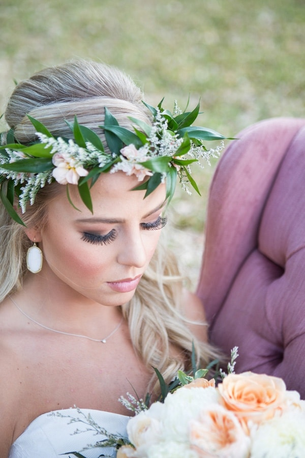Greenery and Flower Crown | Shelly Taylor Photography | Southern Peach Wedding