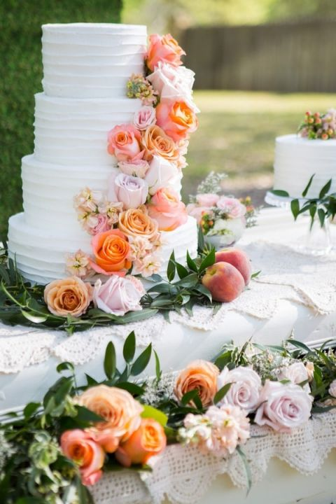 Sweet southern peach wedding shoot with a floral monogram hey flower cascade wedding cake shelly taylor photography southern peach wedding junglespirit Gallery