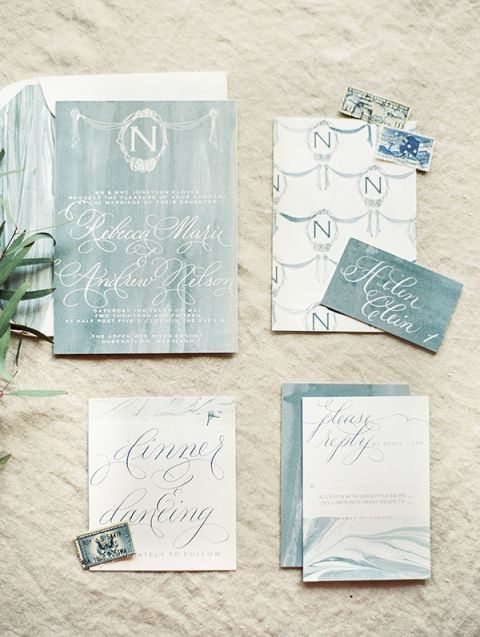 Elegant Calligraphy and Watercolor Wedding Invitation | Krista A. Jones Fine Art Photography | Artistic French Blue Wedding