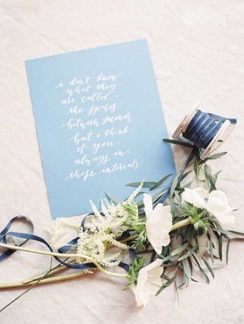 Calligraphy and Clustered Flowers | Krista A. Jones Fine Art Photography | Artistic French Blue Wedding