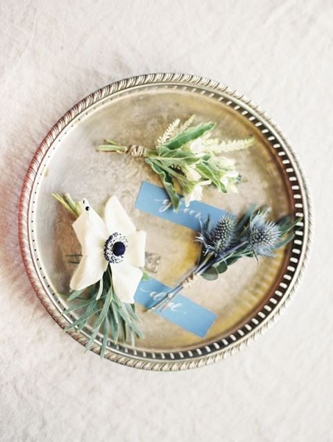 White and Blue Boutonnieres | Krista A. Jones Fine Art Photography | Artistic French Blue Wedding