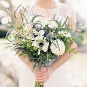 White and Blue Bouquet with Anemone and Thistle | Krista A. Jones Fine Art Photography | Artistic French Blue Wedding