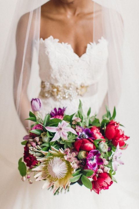 Bright Protea and Fuchsia Bouquet | Bradley James Photography | Modern Gold Glitter Wedding Ideas