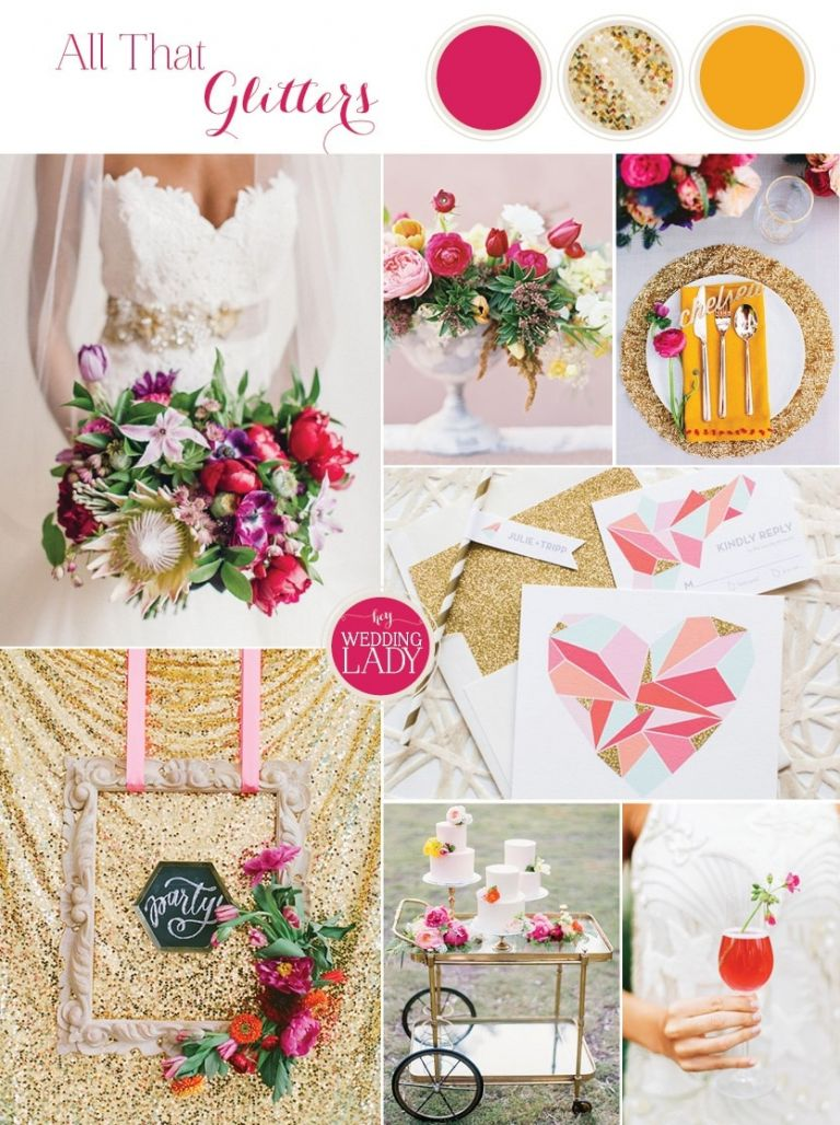 Modern Gold Glitter Wedding Ideas with Geometric Details and Pops of Pink!