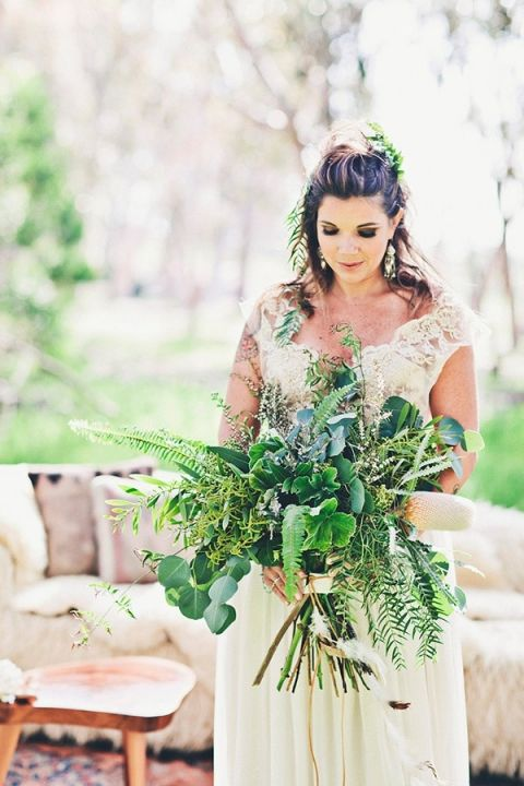 Fern and Eucalyptus Bouquet | Amazonas Photography | Bohemian Forest Wedding