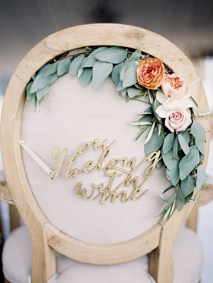 Laser Cut Gold Chair Decor | Meghan Andrews Photography | 12 Personal and Unique Wedding Signs!
