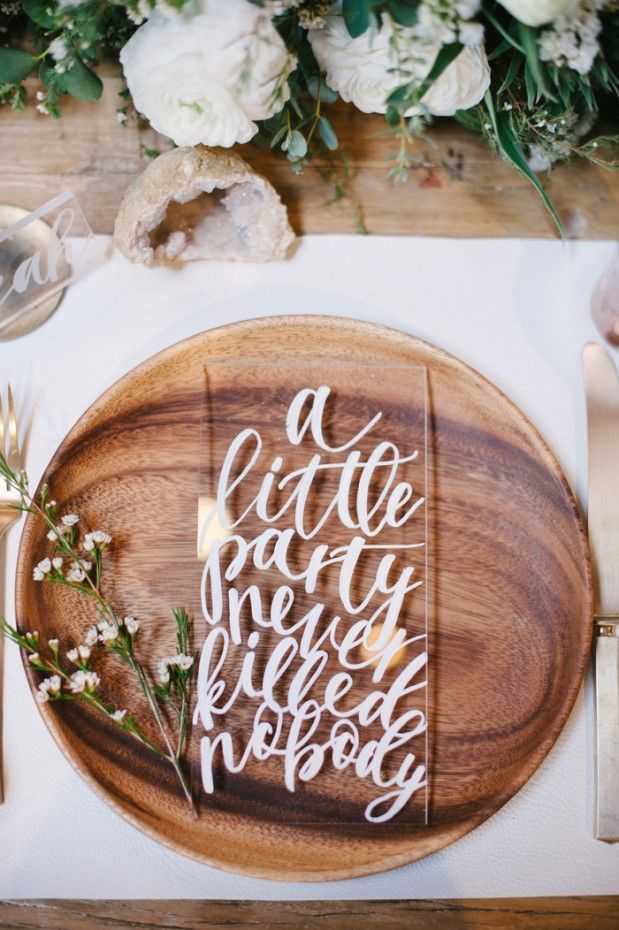 Acrylic and Calligraphy Menu | Michael Radford Photography | 12 Personal and Unique Wedding Signs!