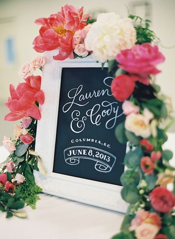 Chalkboard Ceremony Sign with a Peony Flower Garland | Landon Jacob Photography | 12 Personal and Unique Wedding Signs!