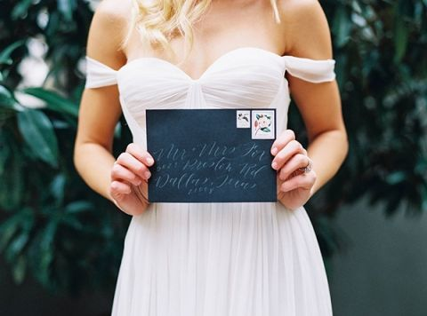 Elegant Calligraphy Envelope | Sarah Carpenter Photography | Organic Black and White Wedding