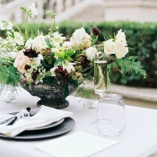 Blackberry and Cream Centerpiece | Sarah Carpenter Photography | Organic Black and White Wedding
