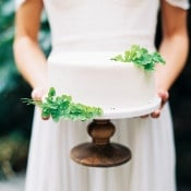 Simple White Wedding Cake with Maidenhair Ferns | Sarah Carpenter Photography | Organic Black and White Wedding