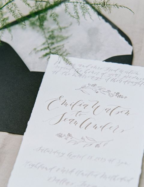 Elegant Calligraphy Invitation | Sarah Carpenter Photography | Organic Black and White Wedding