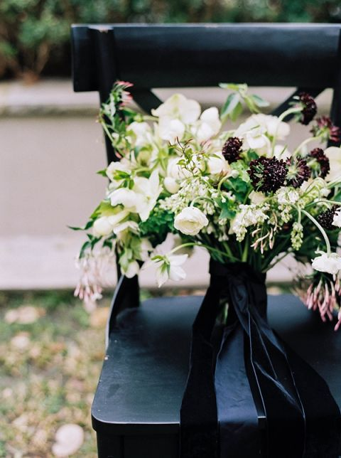 White Bouquet with Deep Purple Blooms and a Black Velvet Ribbon | Sarah Carpenter Photography | Organic Black and White Wedding