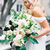 White, Peach, and Dark Berry Bouquet | Sarah Carpenter Photography | Organic Black and White Wedding