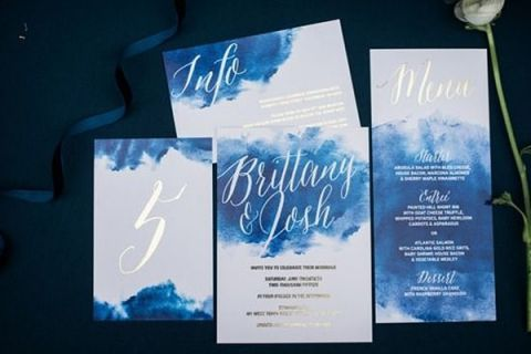 Blue and Silver Watercolor Invitation Suite | Henry Photography | Indigo and Pewter Wedding Palette