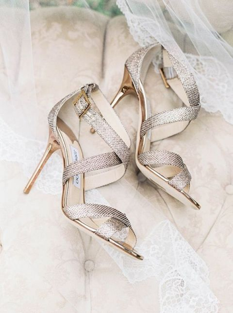 Silver Strappy Wedding Heels | Sarah Carpenter Photography | Indigo and Pewter Wedding Palette