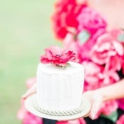 Petite Cake with a Sugar Flower | Newbury Photographs | Greenhouse Shoot with a Floral Wedding Dress