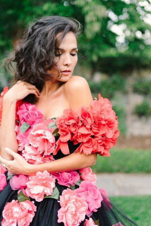 Coral Peony Wedding Dress | Newbury Photographs | Greenhouse Shoot with a Floral Wedding Dress