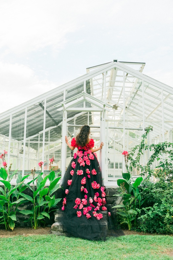 Graceful Black Tulle Wedding Dress | Newbury Photographs | Greenhouse Shoot with a Floral Wedding Dress