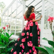 Black Gown with Coral Peonies | Newbury Photographs | Greenhouse Shoot with a Floral Wedding Dress