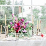Colorful Centerpiece and Vintage Silver | Newbury Photographs | Greenhouse Shoot with a Floral Wedding Dress