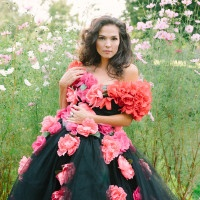 Summer Greenhouse Shoot with a Floral Wedding Dress