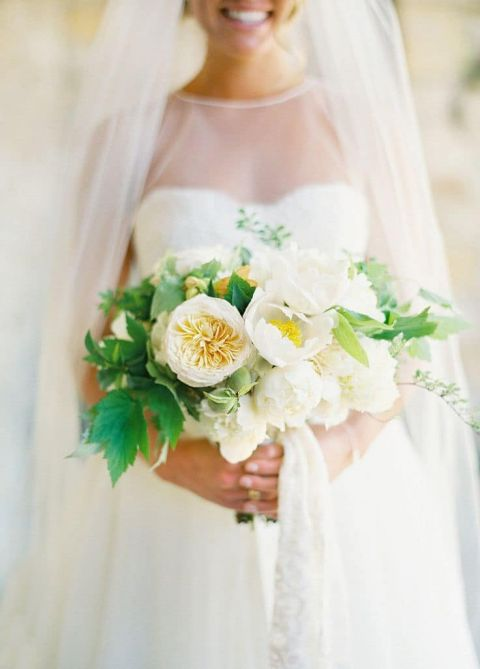 Greenery and White Peony Bouquet | Jose Villa Photography | Fresh Wedding Palette in Yellow and Green