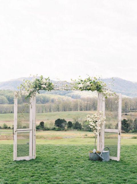 Vintage Door Ceremony Backdrop | Adam Barnes Photography | Fresh Wedding Palette in Yellow and Green