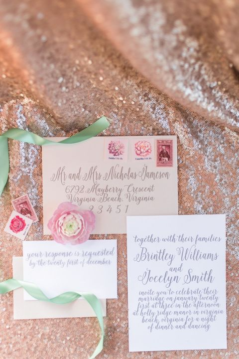 Chic Calligraphy Wedding Invitation | Kirstyn Marie Photography | Vintage Lace and Blush Sequins