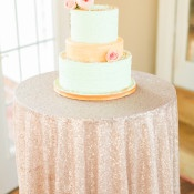 Pink, Mint, and Gold Wedding Cake Table | Kirstyn Marie Photography | Vintage Lace and Blush Sequins