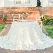 Ruffled Floral Sweetheart Table | Kirstyn Marie Photography | Vintage Lace and Blush Sequins