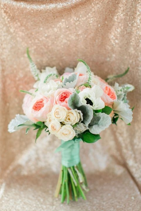 Pink and Mint Bridal Bouquet | Kirstyn Marie Photography | Vintage Lace and Blush Sequins