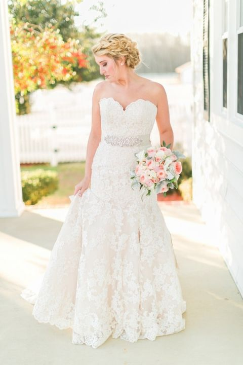 Romantic Classic Wedding Dress | Kirstyn Marie Photography | Vintage Lace and Blush Sequins