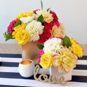 Colorful Flowers with Gold Sequins   Hey Design Lady  Sparkles and Stripes - Kate Spade Wedding Inspiration!